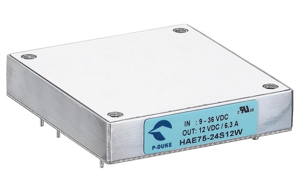 P-Duke HAE75-110S24W DC-DC converter in half brick package with threaded through hole
