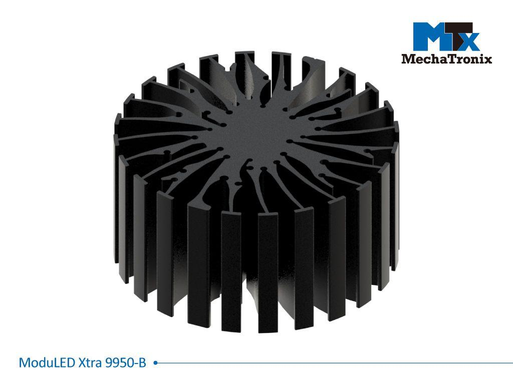 Mechatronix MODULED XTRA 9950-B Modular LED Star Cooler for spot and downlights from 3,600-7,200 lm; ø99mmxH50mm; Rth 1.34°C/W; Mounting holes for Zhaga book 2,3,5,6 & 11 LED modules & 22 mounting hol