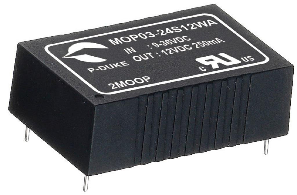 P-Duke MOP03-48D15WB-PT DC-DC converter in DIP package with remote ON/OFF