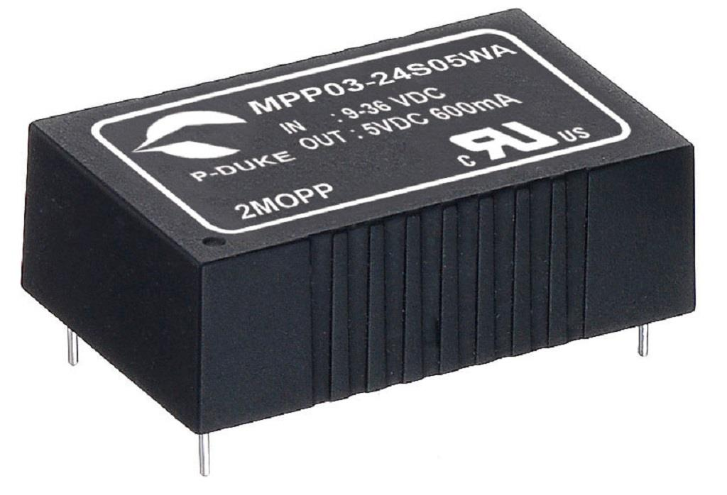 "P-Duke MPP03-12D05B-T DC-DC Dual output converter with EMI Class A filter; Input 12VDC; Output 5VDC at 0.3A / -5VDC at -0.3A; DIP package 1.25""x0.8""x0.4""; 5000VAC I/O 2xMOPP isolation; With trim"