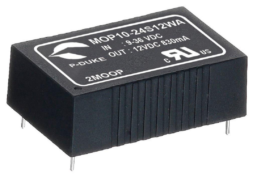 "P-Duke MPP10-24S24B-T DC-DC Single output converter with EMI Class A filter; Input 24VDC; Output 24VDC at 0.416A; DIP package 1.25""x0.8""x0.4""; 5000VAC I/O 2xMOPP isolation; With trim"
