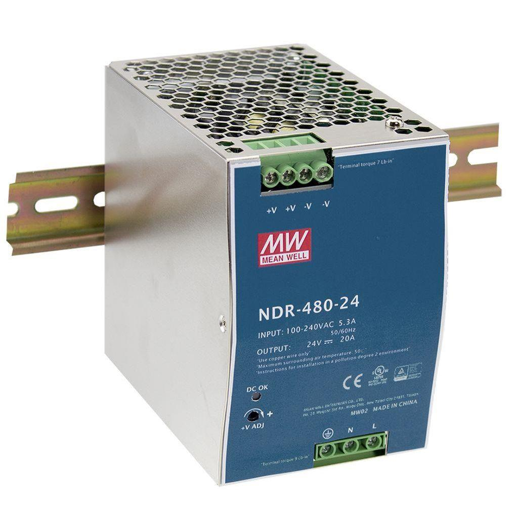 Mean Well NDR-480-48 AC/DC DIN Rail 48V 10A Power Supply