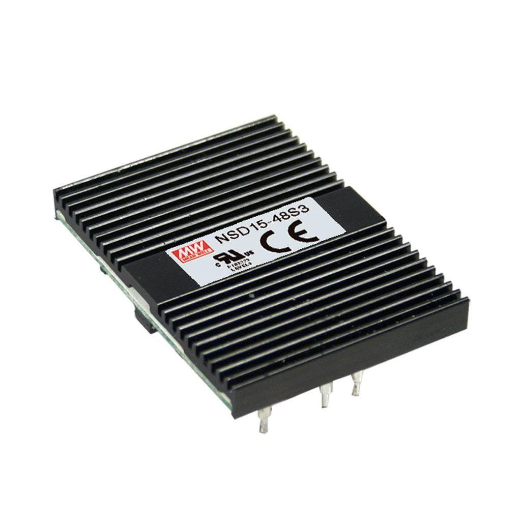 Mean Well NSD15-48S12 DC/DC Open Frame - PCB 12V 1.25A Converter