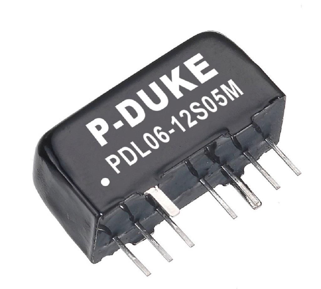 P-Duke PDL06-12S05M DC-DC converter in SIP package in metal case with 1600VDC isolation