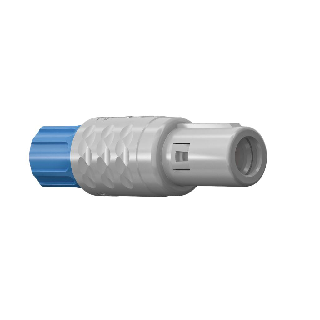 ODU S11M07-P02MPN0-6550 Plastic Push-Pull Connector Serie MEDISNAP IP50; Gray Straight Plug - Push Pull Size 1 with 2 Male contacts with a cross section of 18 AWG. The Straight Plug - Push Pull has a