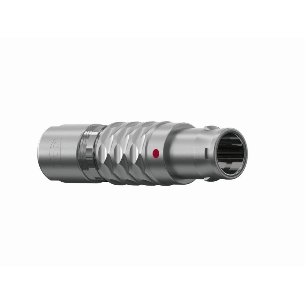 ODU S13L0C-P14MJG0-8200 Metal Push-Pull Connector Serie MINISNAP L IP50; Straight Plug Size 3 with 14 Male contacts with a cross section of 22 AWG. The Straight Plug has a mechanical keying of 0 Degre
