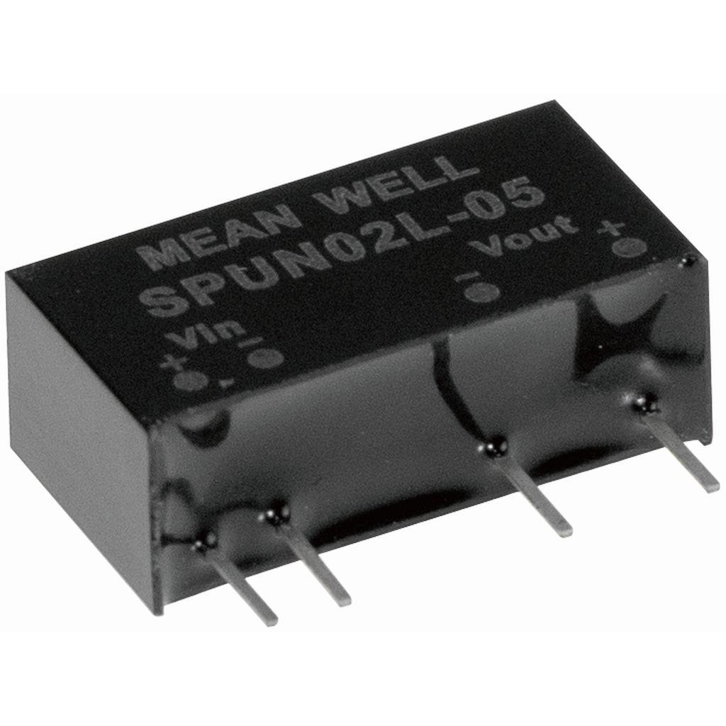 Mean Well SPUN02N-05 DC/DC PCB Mount - Through Hole 5V 0.4A Converter