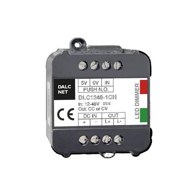 Dalcnet DLC1248-1CV DC-DC Constant Voltage (CV) LED Dimmer with Single Channel; Supply Voltage 12-48Vdc; Output at 1x6.5A; Command with N.O. Push button; IP20