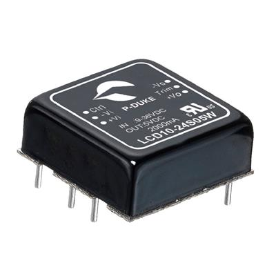 P-Duke LCD10-24D15W DC-DC converter in DIP package with heatsink with clamp