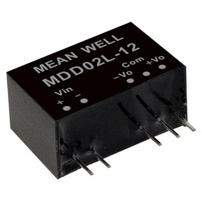 Mean Well MDD02L-05 DC/DC PCB Mount - Through Hole +-5V +-0.2A medical Converter