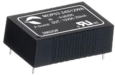 P-Duke MOP03-48S05WB-PT DC-DC converter in DIP package with remote ON/OFF