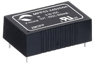 "P-Duke MPP03-24S05WB DC-DC Single output converter with EMI Class A filter; Input 24VDC; Output 5VDC at 0.6A; DIP package 1.25""x0.8""x0.4""; 5000VAC I/O 2xMOPP isolation"