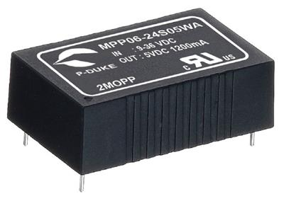 "P-Duke MPP06-24S05B-PT DC-DC Single output converter with EMI Class A filter; Input 24VDC; Output 5VDC at 1.2A; DIP package 1.25""x0.8""x0.4""; 5000VAC I/O 2xMOPP isolation; Remote ON/OFF with trim"