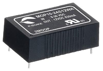 "P-Duke MPP10-24S12B-PT DC-DC Single output converter with EMI Class A filter; Input 24VDC; Output 12VDC at 0.83A; DIP package 1.25""x0.8""x0.4""; 5000VAC I/O 2xMOPP isolation; Remote ON/OFF"