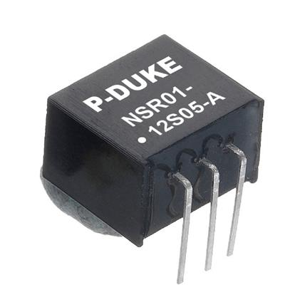 P-Duke NSR01-12S05A DC-DC converter in SIP package with horizontal mounting