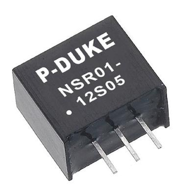 P-Duke NSR01-12S3P3 DC-DC converter in SIP package with vertical mounting