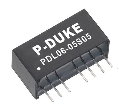 P-Duke PDL06-12D05DC-DC converter in SIP package in plastic case with 1600VDC isolation