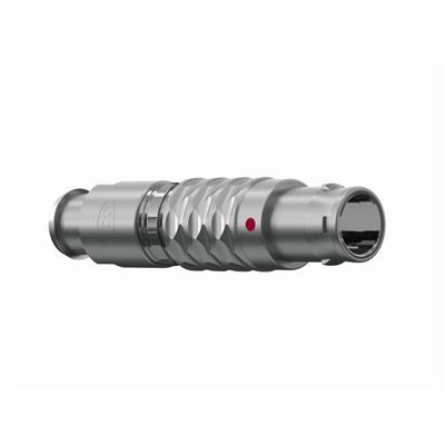 ODU S20L0C-P07MCC0-520S Metal Push-Pull Connector Serie MINISNAP L IP50; Straight Plug Size 0 with 7 Male contacts with a cross section of 28 AWG. The Straight Plug has a mechanical keying of 0 Degree
